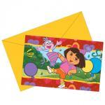 Dora L'Esploratrice Pack 6 Inviti con Busta Boots e Dora